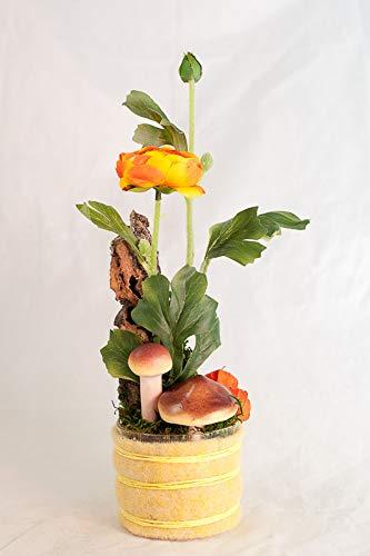 Herbstliches Tischgesteck mit Ranunkel,Pilzen+Physalis-Tischdeko mit künstlicher Blume