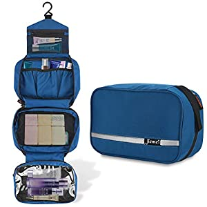 Jiemei Hanging Toiletry Bag with 2 Pack Portable Coat Hangers (Gifts), Travel Wash Bag for Men & Women with 4 Compartments, Foldable Compact Size, High Quality Zipper (Royal Blue)