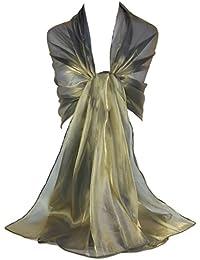 GFM - Echarpe Branded Sheer Shimmer iridiscente ideal para usar por la noche, bodas,