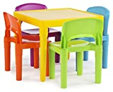 Tot Tutors Stainless Steel Kids Table And 4-Chair Set (Multicolor) at amazon