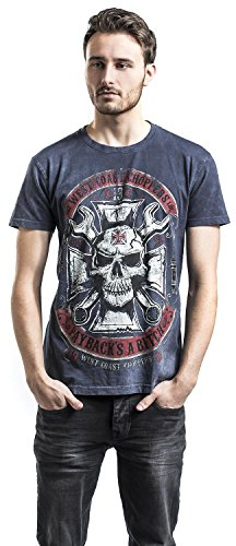 West Coast Choppers Mechanic T-Shirt blau Blau