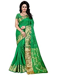 SATYAM WEAVES WOMEN'S ETHNIC WEAR COTTON SILK SAREE WITH BLOUSE PIECE. (MUBARAKAAN) (GREEN)