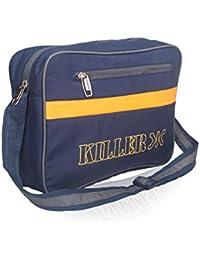 Mens Sling Bag - Killer CARSON Man Messenger Sling Bag Trendy PU Messenger Bag - Navy Blue