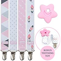 Liname® Dummy Clip for Girls with Bonus Teething Toy - 4 Pack Gift Packaging - Premium Quality & Unique Design - Dummy Clips Fit All Dummies & Soothers - Perfect Baby Gift
