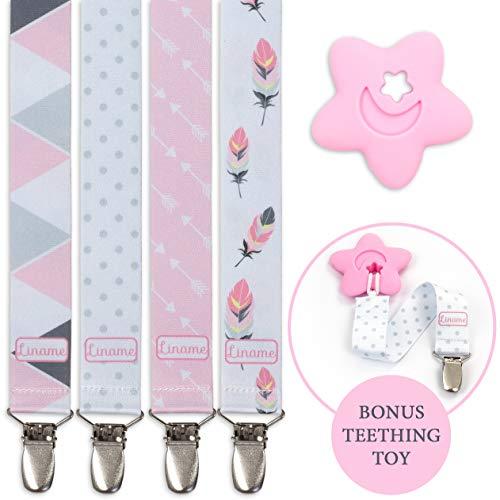 Liname Schnullerkette Für Mädchen - 4 Stück Geschenkbox & BONUS Beißring