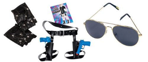 Lara Croft Tomb Raider Style fancy dress set with twin guns holster, Gloves and Glasses