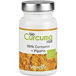 Bio Curcuma 3000, hochdosierte ayurvedische Bio Kurkuma Kapseln mit Piperin (Pfeffer) für beste Bioverfügbarkeit, 95% Curcumingehalt durch 30:1 Extraktion, entspricht 3000mg Kurkumapulver, 60 Kapseln