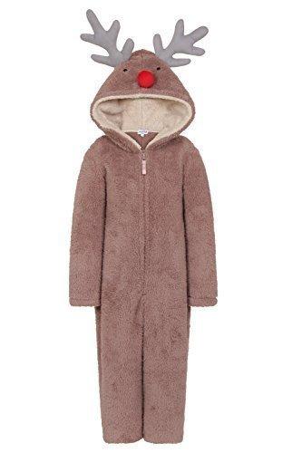 Koo-T Bambine Ragazze con Cappuccio Unicorn Vestaglia Onesie Costume Biancheria da Notte Comodo Idea Regalo Natale - Renna, EU 35-36.5