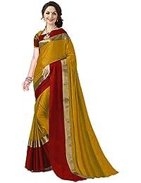 Art Décor Indian Women's Cotton Silk Festive Saree with Blouse Piece(Pradip_TD_Mango_Mustard & Red_Free Size)