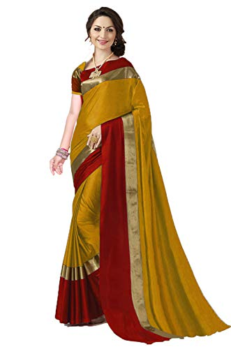 ANNI DESIGNER Indian Women\'s Cotton Silk Festive Saree with Blouse Piece(Pradip_TD_Mango_Mustard & Red_Free Size)
