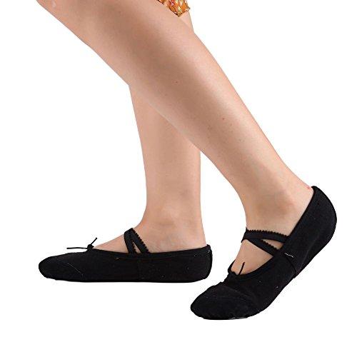 Leezo Mädchen Tragbar Yoga Dance Schuhe Leinwand Leder Pumpen Wohnungen Classic Ballett Schuhe L Schwarz - Schuh-leinwand-pumpe