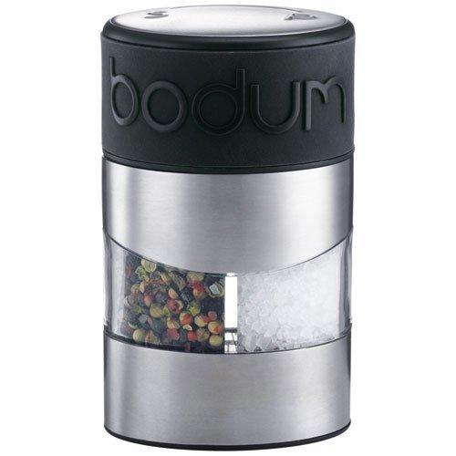 Bodum TWIN Salz- und Pfeffermühle (Einstellbares Keramikmahlwerk, Rutschfester Silikon-Griff, 12 cm) schwarz -