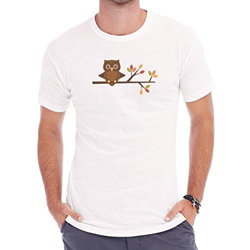 Owl Bird Night Midnighter Tree Herren T-Shirt Weiß