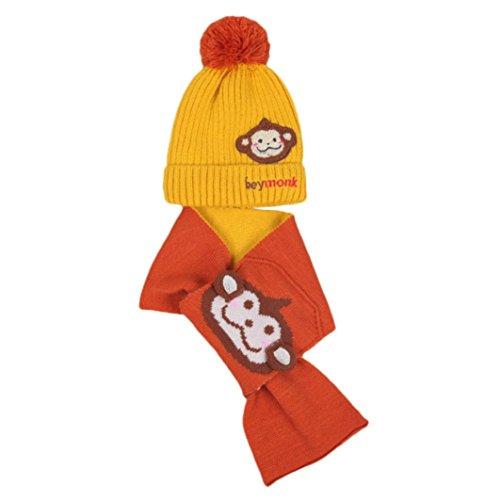 URSING Baby Jungen Mädchen Kinder Cartoon Affe Hut Mütze mit hochwertigem schlafendes Strick Mütze Hut + Komfortable Baumwolle Hals Schal 2pcs Kind stricken warme Hüte (Gelb) (Niedliche Affe Kostüm)