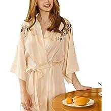 Bata Personalizada para Mujer, Color Puro para Mujer Batas De Kimono SatéN Ropa De Dormir