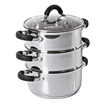 Tower Essentials Steamer Pans 3 Tier with Glass Lid, Silicone Handles, Stainless Steel, Steamer Cooking, Polished Mirror Finish, 18 cm