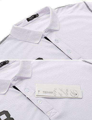 COOFANDY Poloshirt Herren Longsleeve │Piqué Qualität, auffällige Applikationen, kontrastfarbene Nähte