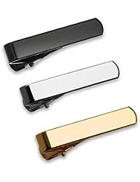 Set de 3 Pc Pasador de Corbatas Estrechas 2.8cm Pisacorbatas Skinny, Tono Plateado, Dorado y Negro en Caja de Regalo