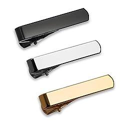 The GQ Tie Bar 3-Piece Set for Skinny, Narrow Neckties, Silver-tone, Black, Gold-tone 1.125 Inch