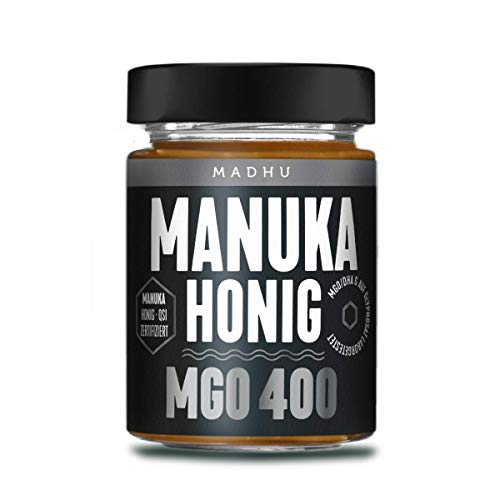 Manuka Honig 400+ MGO im hochwertigen Glas - Direkt vom Imker aus Neuseeland - zertifizierter Methylglyoxal-Gehalt (250g) - inklusive GRATIS Manuka Guide