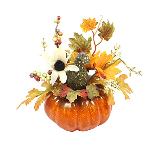 Amosfun Halloween Künstliche Kürbis Dekorationen Tisch Ornamente für Halloween Thanksgiving Herbst Dekoration (Sun Flower Green Curved Melon)
