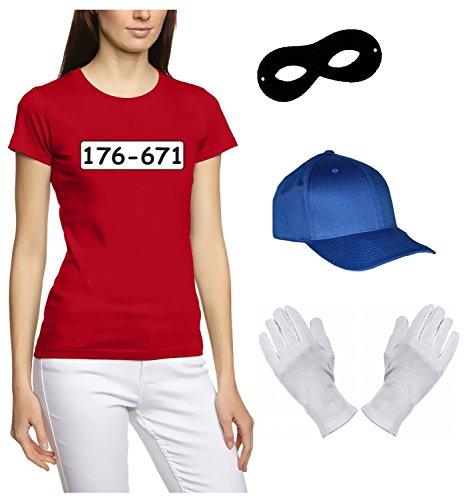 SET GANGSTER BANDE KOSTÜM - FASCHING - KARNEVAL - Girly T-Shirt, MÜTZE, MASKE + HANDSCHUHE - rot Gr.L (Mädchen, Gangster Kostüm)