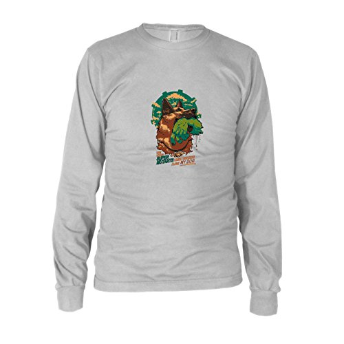Super Mutant Fallout Kostüm - Super Mutant Dog - Herren Langarm T-Shirt, Größe: S, Farbe: weiß