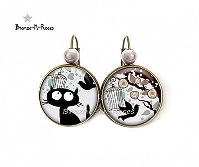 Boucles d'oreilles Chat noir et l'oiseau bijou cabochon fantasie bronze-n-roses dormeuses