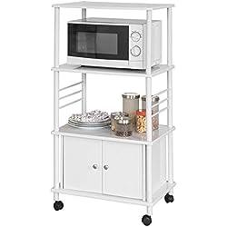 SoBuy® FRG12-W Meuble de Rangement Cuisine Roulant Chariot de Cuisine de Service Micro-Ondes Desserte Micro-Onde à roulettes en Bois