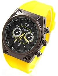 SBAO Homme montre2608 – Montre bracelet en silicone de couleur jaune 24591a283067