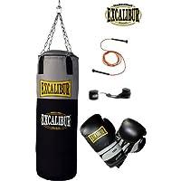 Handgefertigter Boxsack Excalibur Workout – Extrem Robust Und Strapazierbar Dank Reißfestem Nylon - Inklusive Kettenaufhängung, Drehwirbel Und Stabiler Aufhängung, 100cm – Verschiedene Sets