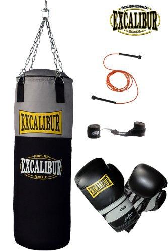 EXCALIBUR Boxset WORKOUT PRO mit Boxsack, 10 Unzen Boxhandschuhen, Wickelbandagen und Springseil
