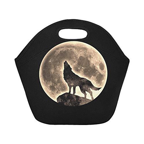 nch-Tasche Howling Wolf Full Moon Große, wiederverwendbare, thermisch dicke Lunch-Tragetaschen für Lunchboxen Für den Außenbereich, Arbeit, Büro, Schule ()