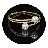Daawqee Damen Armband,Wickelarmband, Fahsion Crystal Imitation Pearl Bracelets for Women Gold Silver Stretching Bracelets Pulseras Mujer Jewelry Gold