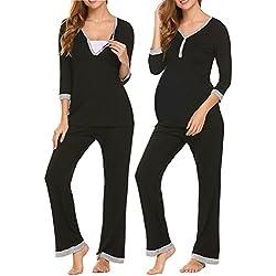 Uni Belle Mujer Lactancia Pijama de premamá Pijama de Dormir Traje Dos Piezas Traje de casa Pyjamas 3/4Mangas V–Barra de Corte con Botones Lounge Wear Negro XL