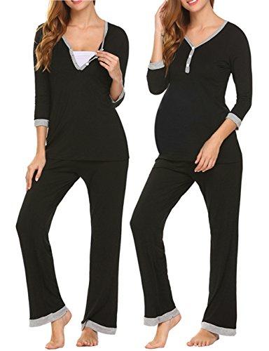 Unibelle pigiama due pezzi premaman donna pigiami allattamento scollo a u vestaglia ragazza manica lunga con pantaloni nero s