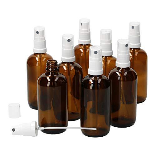 MamboCat 8tlg.-Set Miniaturflaschen mit Sprühkopf I Braunglas 100 ml I Sprayer I Zerstäuber I Apothekerfläschen I UV-geschützte Medikamenten-Aufbewahrung