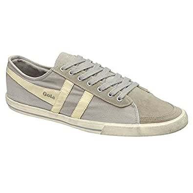Gola Quota Mens Laced Canvas & Suede Trainers Light Grey Ecru - 46