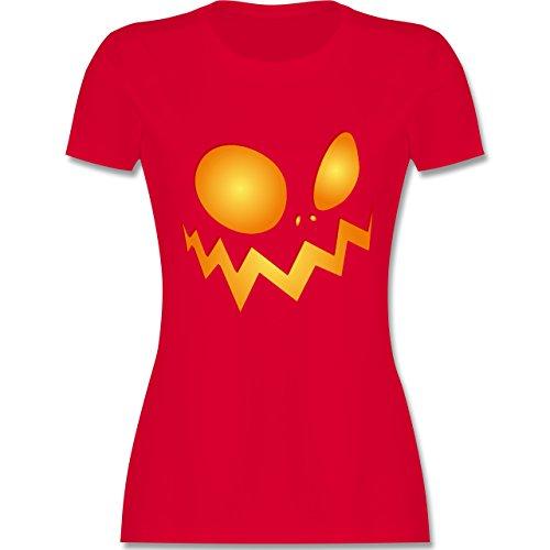 (Halloween - Kürbisgesicht groß Pumpkin - XL - Rot - L191 - Damen T-Shirt Rundhals)