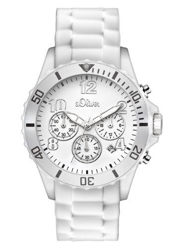 s.Oliver Unisex-Armbanduhr Big Size Chronograph Silikon weiß SO-2321-PC