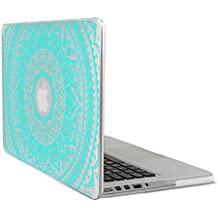 """kwmobile Funda transparente para > Apple MacBook Pro Retina 13"""" (Versiones a partir de finales de 2012 - de mediados 2016) < con Diseño sol indio - Funda protectora portátil funda transparente en menta transparente"""