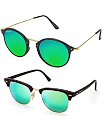 Elegante' Combo Of UV Protected Aqua Green Mirrored Clubmaster And Round Sunglasses For Girls