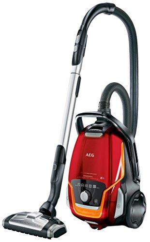 AEG UltraOne VX9-1-FFP Staubsauger mit Beutel EEK A (850 Watt, 5 L Staubbehältervolumen, inkl. Hartbodendüse, 12 m Aktionsradius, waschbarer Allergy Plus Filter) Bodenstaubsauger rot
