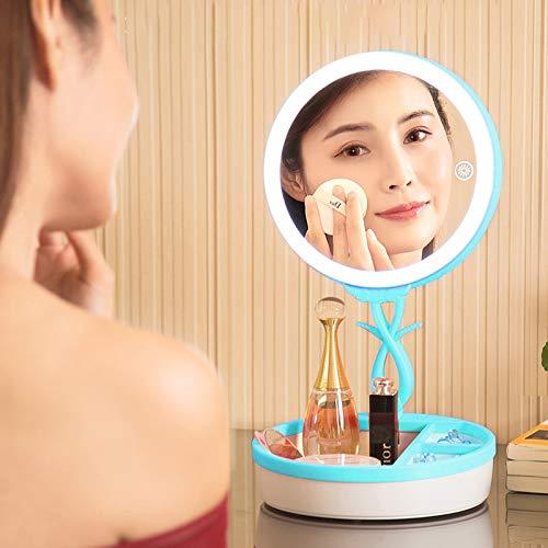 Baobao CELINEZL multifunktions Mode Berührungsschalter USB-Lade Bunte Kosmetikspiegel LED Schreibtischlampe Atmosphäre Licht mit Aufbewahrungsbox, DC 5 V (Rosa) (Farbe : Blue) -
