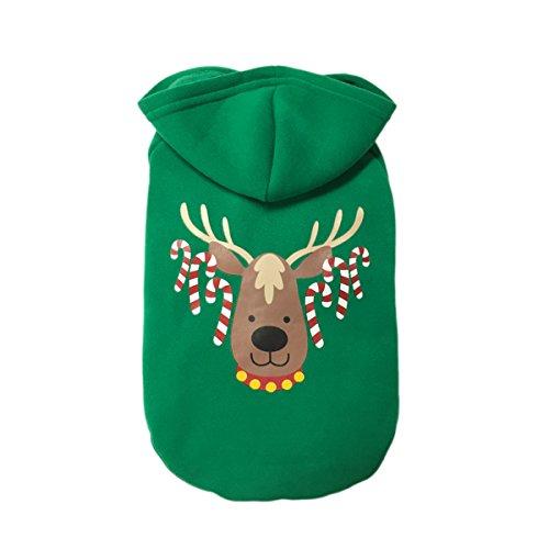 TDC Hundemantel hoodie Weihnachten Kleidung Grün Elch Weihnachten passt Baumwolle Pet Pullover Herbst Winter Pet Festive Coat Puppy Winter Kleidung 1, Material: 100% Baumwolle, warm und angenehm zu tragen.