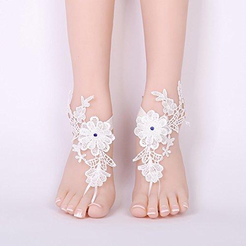 Spitzen Fußkettchen (DWDHLYP Damen Hochzeit Fuß Kette weiß barfuss Sandalen Strand Fußkettchen Schmuck Hochzeit Socken Spitze)