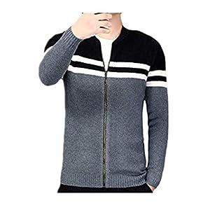 SUCES Herren Strick Streifen Jack Schmale Sweatshirts Stehkragen Cardigan Winter Strickjack Langarm Mantel Cool Reißverschluss Trenchcoat