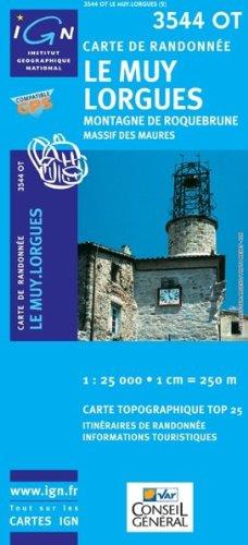Top25 3544OT ~ Le Muy, Lorgues carte de randonnée avec une règle graduée gratuite