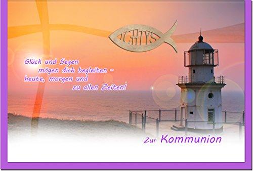 """metALUm Premium Grußkarte zur Kommunion """"Leuchtturm"""""""