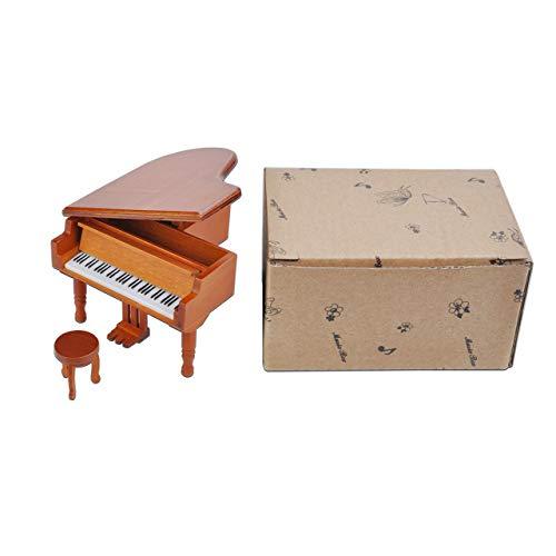 DEjasnyfall Mini Holz Spieluhr Kreative Klavier Spieluhr Für Weihnachten Geburtstagsgeschenke Dekoration Musikinstrumente (braun)